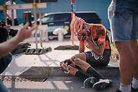 "Jan-Willem Van Schip (NED/Roompot-Nederlandse Loterij) has a little breakdown after finishing, realizing his late race slip might have cost him the race victory<br /> <br /> Antwerp Port Epic 2018 (formerly ""Schaal Sels"")<br /> One Day Race:  Antwerp > Antwerp (207 km; of which 32km are cobbles & 30km is gravel/off-road!)"