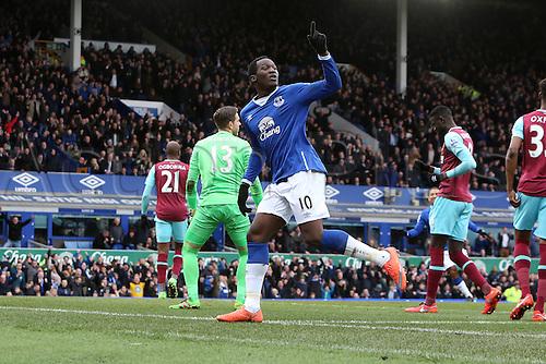 05.03.2016. Goodison Park, Liverpool, England. Barclays Premier League. Everton versus West Ham. Romelu Lukaku of Everton celebrates his 12th minute opening goal for 1-0