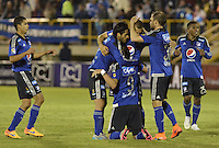 TUNJA -COLOMBIA, 13-09-2015. Jugadores de Millonarios celebran un gol anotado a Boyacá Chicó durante partido por la fecha 12 Liga Àguila II 2015 jugado en el estadio La Independencia en Tunja. / Players of Millonarios celebrate a goal against Boyaca Chico during match for the 12th date of Aguila League II 2015 played at La Independencia stadium in Tunja. Photo: VizzorImage / Gabriel Aponte / Staff