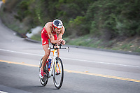 Jan Frodeno leads during the bike portion of the Accenture Ironman California 70.3 in Oceanside, CA on March 29, 2014.