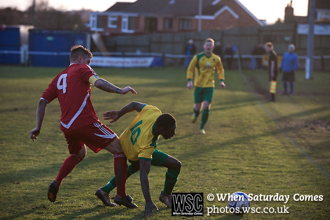 Gornal Athletic 4 Wisbech Town 2, 02/02/2013. Garden Walk Stadium, FA Vase 4th round. Action from the second-half at Garden Walk Stadium, during the FA Vase 4th round tie between Gornal Athletic (in yellow) from Dudley in the West Midlands and visitors Wisbech Town. Gornal, from the Midland Alliance and appearing for the first time at this stage of the tournament, defeated Wisbech, who play in the Eastern Counties League, by 4-2 after extra-time, after the visitors had lead two-nil after 10 minutes. The FA Vase was a nationwide, non-League English football tournament for semi-professional clubs and the winner of this tie played away at Bodmin Town in the next round. Photo by Colin McPherson.