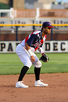 Quad Cities River Bandits shortstop Miguelangel Sierra (4) gets into defensive position during a Midwest League game against the Peoria Chiefs on May 27, 2018 at Modern Woodmen Park in Davenport, Iowa. Quad Cities defeated Peoria 8-3. (Brad Krause/Four Seam Images)