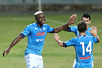 Victor Osimhen of SSC Napoli celebrates with  Dries Mertens and Hirving Lozano after scoring a goal <br /> during the friendly football match between SSC Napoli and L Aquila 1927 at stadio Patini in Castel di Sangro, Italy, August 28, 2020. <br /> Photo Cesare Purini / Insidefoto