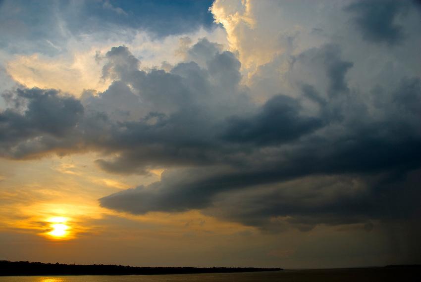 Sunset on the Amazon River near Manaus, Brazil.