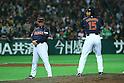 (L to R) . Osamu Higashio (JPN), .Hirokazu Sawamura (JPN), .FEBRUARY 28, 2013 - WBC : .2013 World Baseball Classic .Exhibithion Game .between Tokyo Yomiuri Giants 1-6 Japan .at Yafuoku Dome, Fukuoka, Japan. .(Photo by YUTAKA/AFLO SPORT)