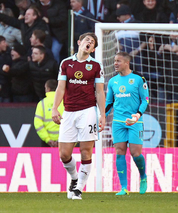 Burnley's James Tarkowski reacts after Sergio Aguero scored his sides second goal <br /> <br /> Photographer Rich Linley/CameraSport<br /> <br /> The Premier League - Burnley v Manchester City - Saturday 26th November 2016 - Turf Moor - Burnley<br /> <br /> World Copyright &copy; 2016 CameraSport. All rights reserved. 43 Linden Ave. Countesthorpe. Leicester. England. LE8 5PG - Tel: +44 (0) 116 277 4147 - admin@camerasport.com - www.camerasport.com