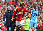 Marouane Fellaini of Manchester United tussles with David Silva of Manchester City during the Premier League match at Old Trafford Stadium, Manchester. Picture date: September 10th, 2016. Pic Simon Bellis/Sportimage