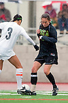 Palos Verdes, CA 01/26/10 - Annie Curry (MC #9) and Megan Young (3) in action during the Mira Costa vs Palos Verdes Girls Varsity soccer game at Palos Verdes High School.