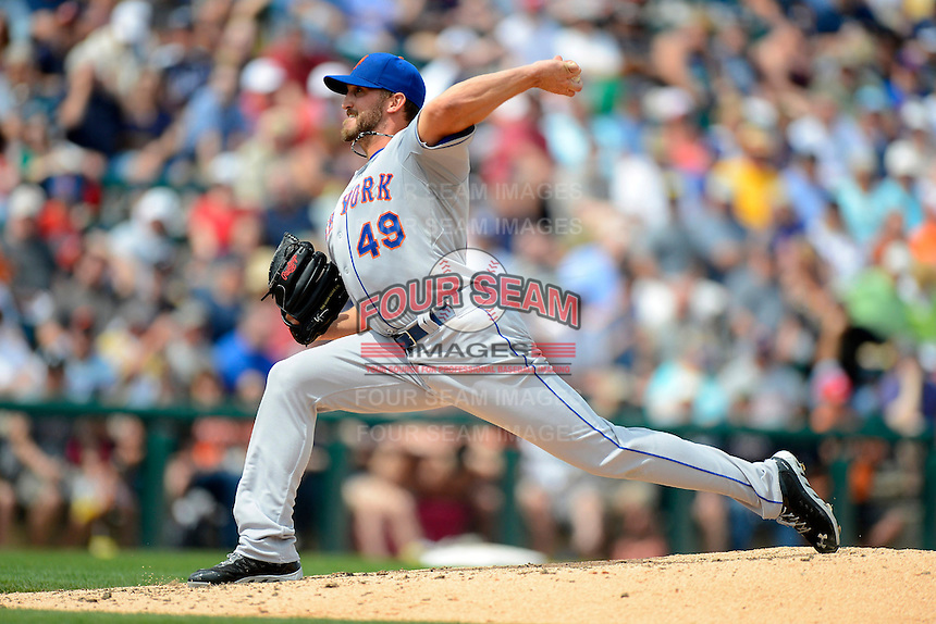 New York Mets pitcher Jon Niese #49 during a Spring Training game against the Detroit Tigers at Joker Marchant Stadium on March 11, 2013 in Lakeland, Florida.  New York defeated Detroit 11-0.  (Mike Janes/Four Seam Images)