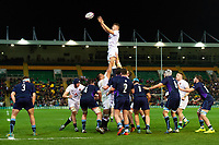 Aaron Hinkley of England U20 wins the ball at a lineout. U20 Six Nations match, between England U20 and Scotland U20 on March 15, 2019 at Franklin's Gardens in Northampton, England. Photo by: Patrick Khachfe / JMP