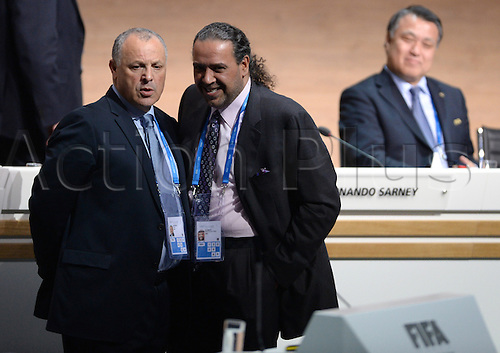 26.02.2016. Zurich, Switzerland.  FIFA Executive Committee Members Hany Abou Rida from Egypt (L-R) and Sheikh Ahmad al Fahad al Sabah from Kuwait talk next to Kohzo Tashima from Japan during the Extraordinary FIFA Congress 2016 at the Hallenstadion in Zurich, Switzerland, 26 February 2016. The Extraordinary FIFA Congress is being held in order to vote on the proposals for amendments to the FIFA Statutes and choose the new FIFA President.