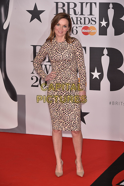 LONDON, ENGLAND - FEBRUARY 24: Geri Horner (nee Halliwell) attends the BRIT Awards 2016 at The O2 Arena on February 24, 2016 in London, England<br /> CAP/PL<br /> &copy;Phil Loftus/Capital Pictures