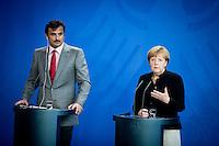 Bundeskanzlerin Angela Merkel (CDU) und der Emir des Staates Katar, Scheich Tamim bin Hamad bin Khalifa al Thani geben am Mittwoch (17.09.14) in Berlin eine Pressekonferenz.<br /> Foto: Axel Schmidt/CommonLens