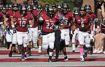 The Lindenwood Lynx football team runs onto the field before their  NAIA football game against the visiting Olivet Nazarene Tigers.