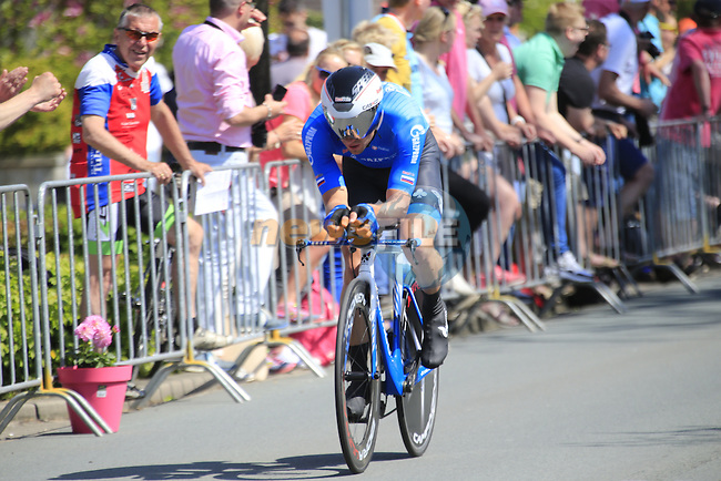 Andrey Solomennikov (RUS) Gazprom-Rusvelo in action during Stage 1 of the 2016 Giro d'Italia, an individual time trial of 9.8km around Apeldoorn, The Nethrerlands. 6th May 2016.<br /> Picture: Eoin Clarke | Newsfile<br /> <br /> <br /> All photos usage must carry mandatory copyright credit (&copy; Newsfile | Eoin Clarke)