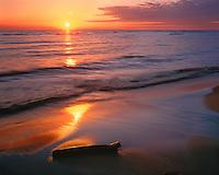 Sunset over Lake Michigan; Ludington State Park, MI