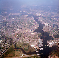 1998 September 05..Aerial..High altitude of census tracts around Elizabeth River in Portsmouth & Norfolk..Gene Woolridge.NEG# 11678 - 39.NRHA#..