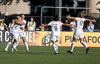 Aya Miyama (8) and Lisa Sari (12) run to celebrate with Han Duan (9) and Manya Makoski (22) after Han Duan's goal. Los Angeles Sol defeated FC Gold Pride 2-0 at Buck Shaw Stadium in Santa Clara, California on May 24, 2009.