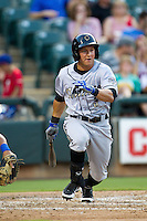 Omaha Storm Chasers outfielder David Lough #3 runs to first base during the Pacific Coast League baseball game against the Round Rock Express on July 22, 2012 at the Dell Diamond in Round Rock, Texas. The Express defeated the Chasers 8-7 in 11 innings. (Andrew Woolley/Four Seam Images).