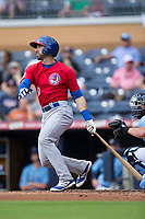 Jason Leblebijian (9) of the Buffalo Bisons follows through on his swing against the Durham Bulls at Durham Bulls Athletic Park on April 30, 2017 in Durham, North Carolina.  The Bisons defeated the Bulls 6-1.  (Brian Westerholt/Four Seam Images)