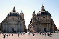 Rome  August  21 2008. The piazza del Popolo and the churches Santa Maria dei Miracoli and Santa Maria de Montesanto which open the via del Corso.
