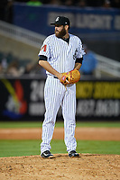 Jackson Generals relief pitcher Daniel Gibson (43) gets ready to deliver a pitch during a game against the Chattanooga Lookouts on April 27, 2017 at The Ballpark at Jackson in Jackson, Tennessee.  Chattanooga defeated Jackson 5-4.  (Mike Janes/Four Seam Images)