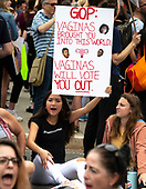 Anti-Kavanagh protests outside the the United States Supreme Court in Washington, DC as the US Senators continue their floor statements across the street inside the US Capitol on Saturday, October 6, 2018. <br /> Credit: Ron Sachs / CNP<br /> RESTRICTION: NO New York or New Jersey Newspapers or newspapers within a 75 mile radius of New York City)