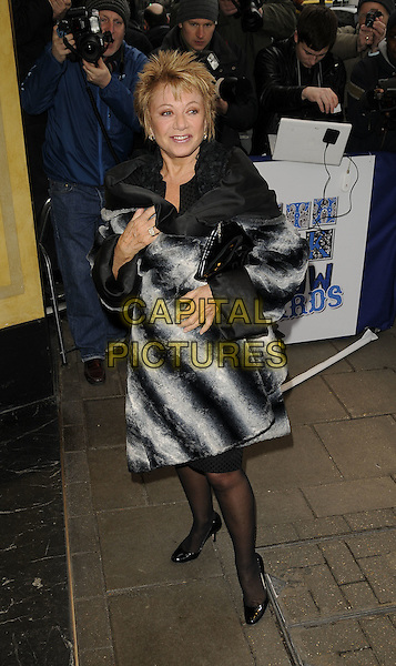 ELAINE PAIGE.The Southbank Show Awards, Dorchester Hotel, park Lane, London, England..January 20th, 2009.south bank full length grey gray black white jacket coat pattern striped stripes .CAP/CAN.©Can Nguyen/Capital Pictures.