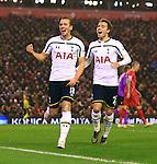 Tottenham's Harry Kane celebrates scoring his sides first goal - Liverpool vs. Tottenham Hotspurs - Barclay's Premier League - Anfield - Liverpool - 10/02/2015 Pic Philip Oldham/Sportimage