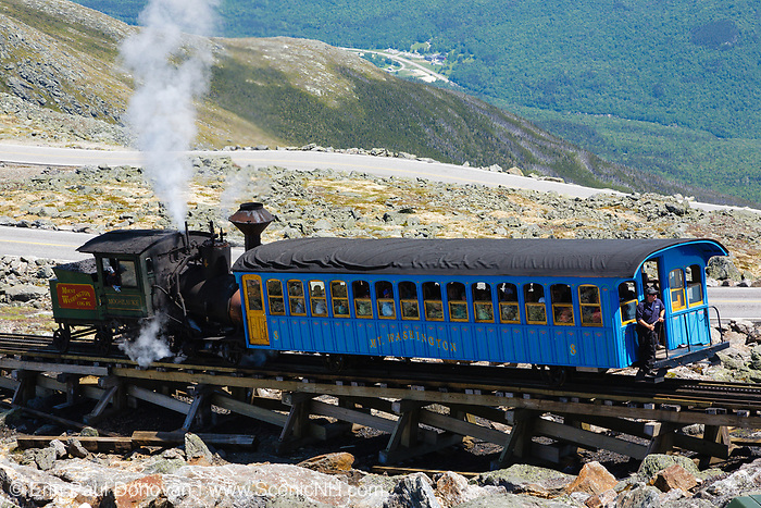 Mount Washington Cog on the summit of Mount Washington. Located in the White Mountains, New Hampshire USA. This is the Moosilauke Locomotive
