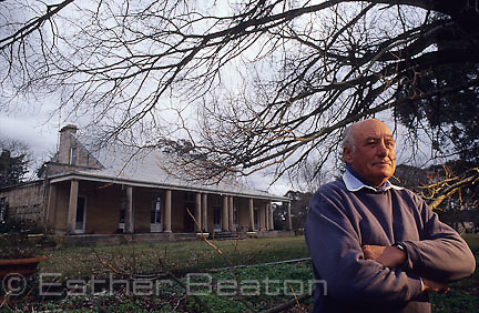 The owner in front of Longreach, a historic home and property on Wollondilly River. Southern Highlands, NSW