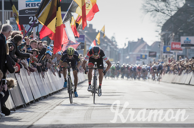 In a sprint with 2 Greg Van Avermaet (BEL/BMC) beats compatriot Jens Keukeleire (BEL/Orica-Scott) to the line with the peloton approaching fast<br /> <br /> 79th Gent-Wevelgem 2017 (1.UWT)<br /> 1day race: Deinze &rsaquo; Wevelgem - BEL (249km)