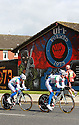 Team Androni Giocattoli Venezuela (ITA) cycle past pro-British Loyalist murals of east Belfast during practice session before the 2014 Giro d'Italia cycling race in Belfast, Northern Ireland, 09 May 2014. Belfast is hosting the Giro d'Italia Big Start (Grande Partenza) with three days of cycling action from 9 to 11 May 2014.