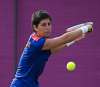 Carla Suarez Navarro.Tennis - OLympic Games -Olympic Tennis -  London 2012 -  Wimbledon - AELTC - The All England Club - London - Monday July 30th  2012. .© AMN Images, 30, Cleveland Street, London, W1T 4JD.Tel - +44 20 7907 6387.mfrey@advantagemedianet.com.www.amnimages.photoshelter.com.www.advantagemedianet.com.www.tennishead.net