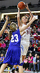 SIOUX FALLS, SD - February 13: Ellie Brecht #34 from Sioux Falls Lincoln shoots over Tianna Duda #23 from Rapid City Stevens in the second half of their game Friday night at the Denny Sanford Premier Center. (Photo by Dave Eggen/Inertia)