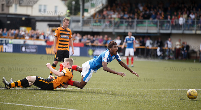 Nathan Oduwa goes down in the box after his trickery on the ball
