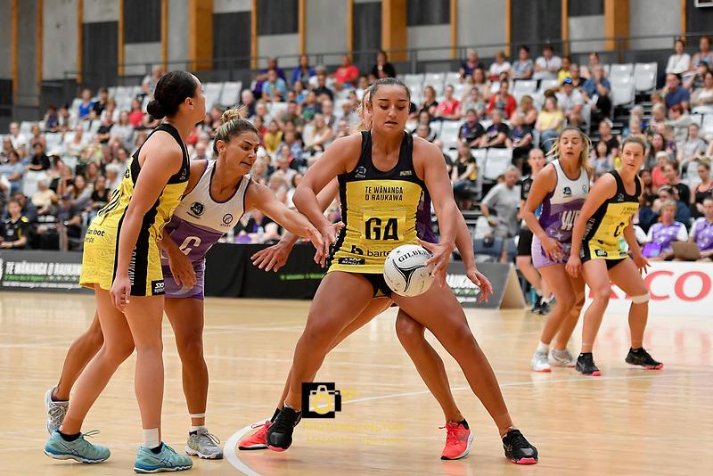 Pulse' Tiana Metuarau in action during the  Netball Pre Season Tournament - Pulse v Stars at Ngā Purapura, Otaki, New Zealand on Saturday 9 February  2019. <br /> Photo by Masanori Udagawa. <br /> www.photowellington.photoshelter.com