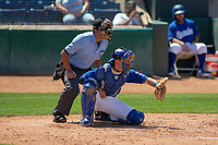 Rancho Cucamonga Quakes Connor Wong (33) sets a target at LoanMart Field on May 28, 2018 in Rancho Cucamonga, California. The Storm defeated the Quakes 8-5.  (Donn Parris/Four Seam Images)