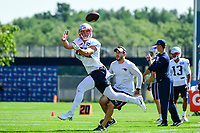 July 28, 2017: New England Patriots tight end Jacob Hollister (48) makes a catch at the New England Patriots training camp held at Gillette Stadium, in Foxborough, Massachusetts. Eric Canha/CSM
