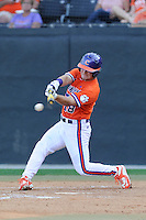 Center fielder Tyler Slaton (18) of the Clemson Tigers bats in a game against the Wofford College Terriers on Tuesday, May 5, 2015, at Russell C. King Field in Spartanburg, South Carolina. Wofford won, 17-9. (Tom Priddy/Four Seam Images)