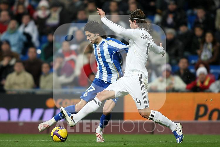 Deportivo de la Coruna's Angel Lafita (l) and Real Madrid's Sergio Ramos (r) during La Liga match.January 25 2009. (ALTERPHOTOS/Acero).