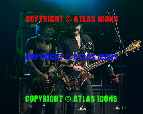 POMPANO BEACH, FL - SEPTEMBER 26: Phil Wizzo Campbell and Lemmy Kilmister of Motorhead perform at The Pompano Beach Amphitheater on September 26, 2015 in Pompano Beach Florida. Credit Larry Marano © 2015
