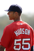 March 18, 2010:  Pitcher Jennel Hudson (55) of the Boston Red Sox organization during Spring Training at Ft.  Myers Training Complex in Fort Myers, FL.  Photo By Mike Janes/Four Seam Images