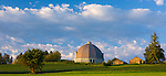 Whitman County, WA      <br /> Morning sun on round barn under clearing skies