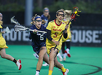 College Park, MD - April 19, 2018: Maryland Terrapins Jen Giles (5) is being pushed by Penn State Nittany Lions Katie O'Donnell (5) during game between Penn St. and Maryland at  Field Hockey and Lacrosse Complex in College Park, MD.  (Photo by Elliott Brown/Media Images International)
