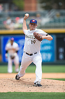 Charlotte Knights relief pitcher Blake Smith (19) in action against the Gwinnett Braves at BB&T BallPark on July 3, 2015 in Charlotte, North Carolina.  The Braves defeated the Knights 11-4 in game one of a day-night double header.  (Brian Westerholt/Four Seam Images)