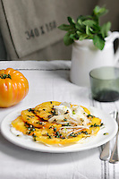 Carpaccio of pineapple tomatoes served with chopped fennel and a spicy dressing