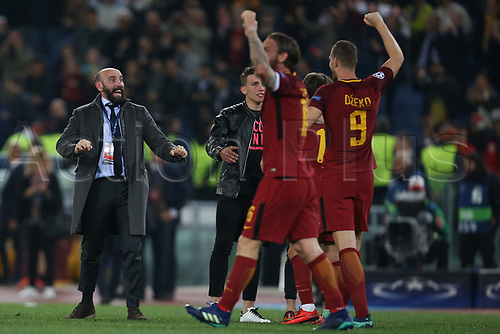 10th April 2018, Stadio Olimpico, Rome, Italy; UEFA Champions League football, quarter final, second leg; AS Roma versus FC Barcelona; Spanish general manager Monchi of AS Roma celebrates after defeating Barcelona 3-0
