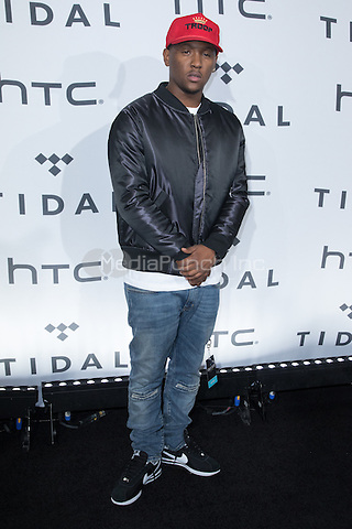 BROOKLYN, NY - OCTOBER 20: Hit Boy on arrivals for TIDALx1020 Concert at Barclays Center in Brooklyn, NY on October 20, 2015. Credit: Abel Fermin/MediaPunch