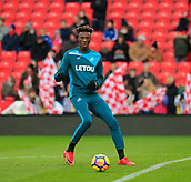 2nd December 2017, bet365 Stadium, Stoke-on-Trent, England; EPL Premier League football, Stoke City versus Swansea City; Tammy Abraham of Swansea City warms up for the game